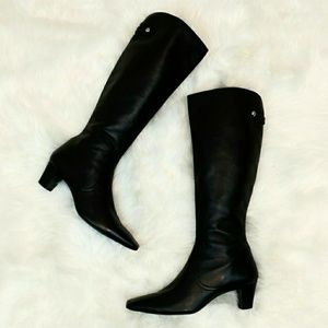 Cole Haan Knee High Black Leather Boots